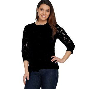 IMNYC Plus Cardigan Lace front & sleeve black EUC